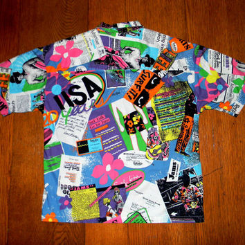 Vintage Hawaiian Shirt, 80s Button Up JAMS by Surf Line Men's Cotton Short Sleeve Summer Top, Crazy Neon Pop Art Surfer Print, Mens Medium M
