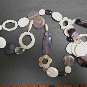 Vintage Necklace Clear Faceted Glass Mother of Pearl Amethyst Glass Beads