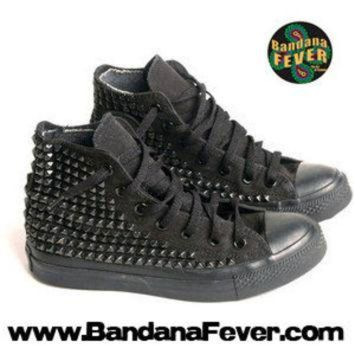 DCCKHD9 Bandana Fever Custom Studded Black Mono Converse All-Star Chuck Taylor Hi Black Pyrami
