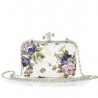 Missguided - Emirte Floral Print Clutch Box In White