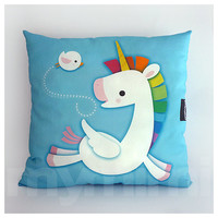 Decoration Pillow, Rainbow Unicorn, Unicorn Pillow, Pegasus, Cotton Pillow, Throw Pillow, Cushion, Kawaii, Girls Room Decor, Toys, 16 x 16""