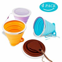 MAGEDON Silicone Collapsible Travel Cup - Silicone Folding Camping Cup with Lids - Expandable Drinking Cup Set - BPA Free, Portable, Graduated [9.22oz]