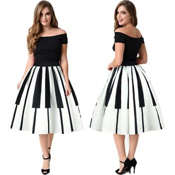 Cosplay Piano Keys Costume Pleated Tennis Skirts Female Flared Skirts Vintage Black And White Keys Midi Sports Skirt Saia Faldas