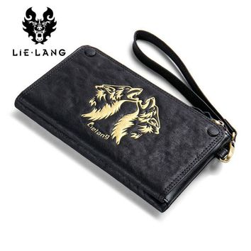 Leather Men Wallet Long Purse Men's Zipper Wallets Male Clutch Phone Card Holder Coin Purse Money Bag