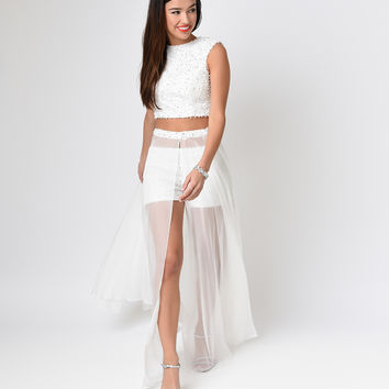 Off White Beaded Crop & Chiffon Breakaway Three Piece Dress  2015 Homecoming Dresses