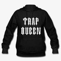 Trap Queen Women's & Men's Unisex Casual Black Gray Pink & White Pullover Hoodie