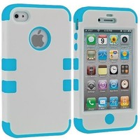 White / Baby Blue Tuff Hybrid Premium Rugged Hard Soft Case Skin Cover for Apple iPhone 4 4G 4S