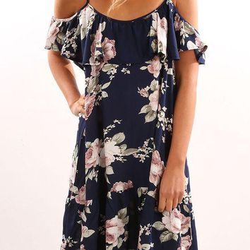 ICIKH3L Fashion Flower Print Backless Frills Strapless Short Sleeve Strap Mini Dress