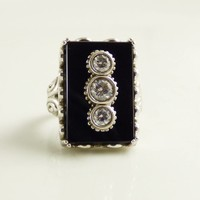 Art Deco Revival Black Onyx Sterling Silver Victoria Wieck Ring