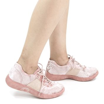 Forward04 Mauve Pink by Bamboo, Glitter & Velvet Lace Up Fashion Sneaker w Ribbon Platform Outsole