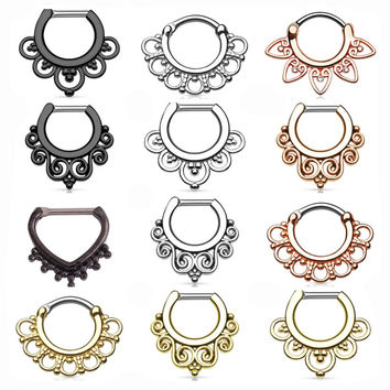SWANJO 1PC Indian Nose Ring Real Piercings Fashion Titanium Shaft Nariz Body Jewelry Septum Clicker Nose Pircings Earring Gauges