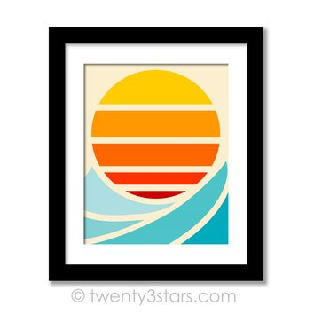 Sun and Surf Ocean Wave Wall Art - Choose Any Colors - twenty3stars