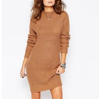 High Collar Slim Sweater Half Dress in Brown