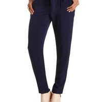 Sash-Belted Trousers by Charlotte Russe - Navy Blue