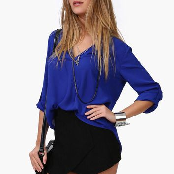 Women Chiffon Blouse V-neck Long Sleeve Casual Female Tops Temperament Solid Shirts  Summer Spring Women OL Office Blusa