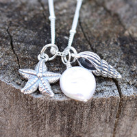 Seashell charm necklace -  summer weddings . sterling silver . seashell, starfish and white coin pearl . beach . nautical