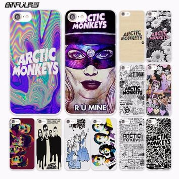 BiNFUL Psychedelic Arctic Monkeys Logo Collage Band design hard White Case Cover for Apple iPhone 7 6 6s Plus SE 5 5s 5C 4 4s ph