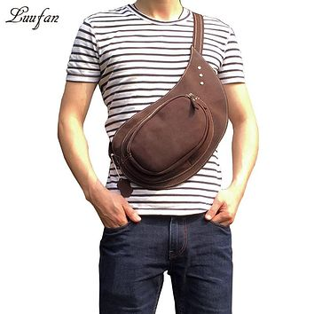 High Quality Men Genuine Leather Real Cowhide Retro Messenger Shoulder Crossbody Bag Vintage Sling Chest Day Pack Half Moon