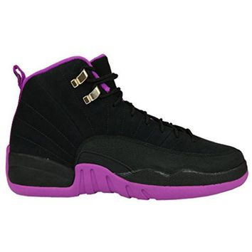CREYYN6 Air 12 Retro Black/Metallic Gold Star-Hyper Violet Suede Basketball Shoes Womens
