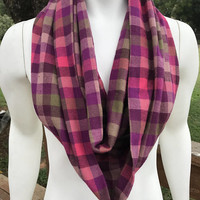 Women's-Handmade-Purple-Multi Color-Flannel-Plaid-Infinity Scarf-Gifts for her-Winter-Fall-Chunky-Accessories