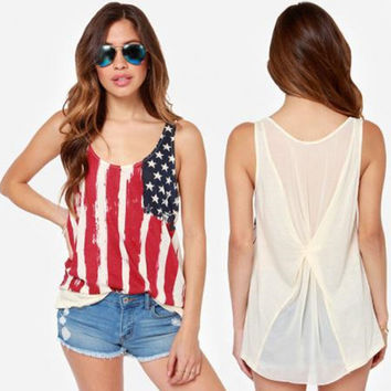 fashion womens casual american flag tank top loose comfortable vest gift 85