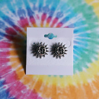 Sterling Silver Celestial Sun And Moon Earring Studs
