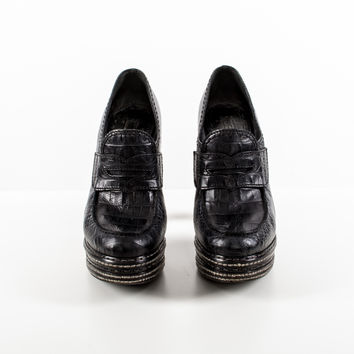 Embossed Croc Leather Platform Loafer