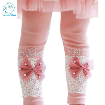 2017 Spring Autumn Cotton Leggings Girls Kids Lace Bow Skinny Trousers Children's Pants To Suit Dress Kids Korean Bow Pants