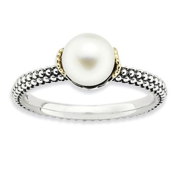White FW Cultured Pearl, Sterling Silver & 14k Gold Accent Stack Ring