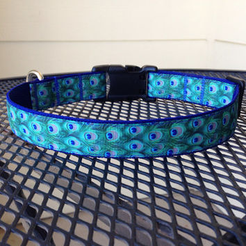 Dog Collar Made from Peacock Feathers Ribbon by SweetKeeps on Etsy