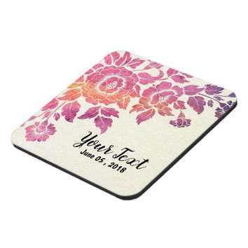 Floral customize add text coaster