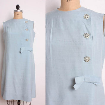 Vintage 1960s Pale Blue Silk Shift Dress w/ Bow & by pineapplemint