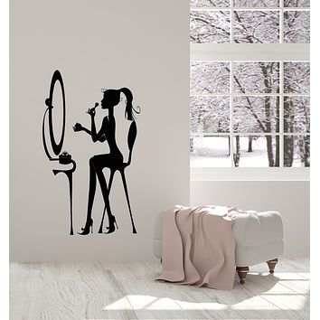 Vinyl Wall Decal Girl Room Decor Beauty Salon Dressing Table Stickers (3916ig)