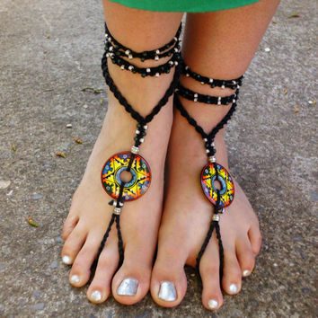 Rasta Barefoot Sandals. Peruvian donut pendant. Gypsy hippie crochet foot jewelry. micromacrame bottomless sandals.