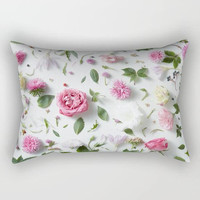 Garden Flower Petals Rectangular Throw Pillow, Botanical Flowers Throw Pillow, Floral Bedroom Decor, Flowers Nursery Pillow, Floral Pillow