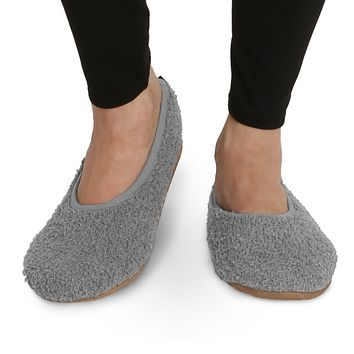 Pembrook Super Soft Slippers – Ballet Style and Non-Skid Sole - Faux Sherpa Shearling Lining - Memory Foam, women, girls