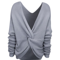 Grey V-neck Knot Back Long Sleeve Knit Jumper