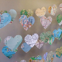 10 Metre Vintage Atlas Heart Garland - home decor, wedding, party decoration, travel garland, high tea