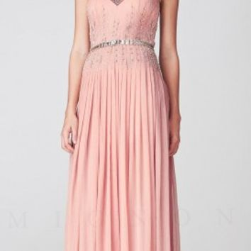 Embellished Illusion Scoop V-Neckline Pleated Evening Dress by Mignon