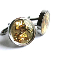 Resin Cufflinks and Gold Leaf Flakes Men's Cufflinks Groom Best Man Jewellery Mens Jewellery