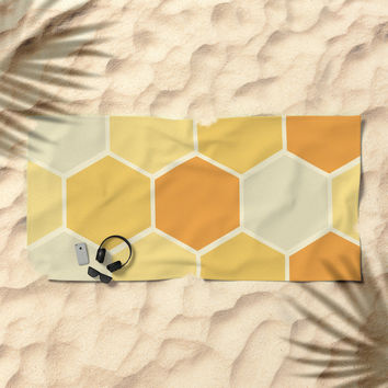 Yellow Honeycomb Beach Towel by spaceandlines