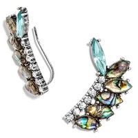 Women's BaubleBar 'Narnia' Ear Crawlers - Abalone/ Antique Silver