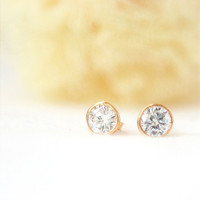 Tiny Clear Crystal Bezel Earrings by laonato on Etsy