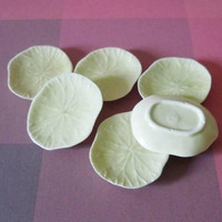 Lotus plate Miniature set Mini plate light yellow 6 pcs.Ceramic plate set /Miniature kitchen/ Dollhouse miniatures