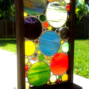 Stained Glass Panel Abstract Art Rainbow Color Circle Collage Housewarming Gift Home Decor Wood Frame Display Stand Original OOAK Glass Art