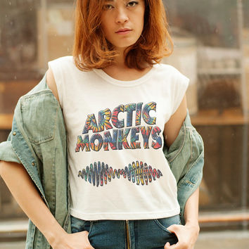 Arctic Monkeys Shirt Women Crop Top Sleeveless Band Tee Hipster Graphic Tee Shirts for Teens Clothing