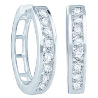 Round Diamond Ladies Fashion Hoops Earrings in 14k White Gold 1 ctw