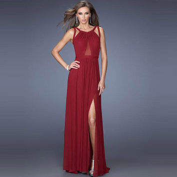 Back Cross Scoop Sleeveless Split Floor-length Solid Club Dress