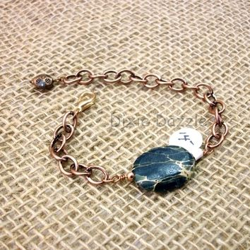 Jasper and copper bracelet, adjustable length bracelet, copper and stone jewelry, made in USA, one of a kind jewelry, shop local TN