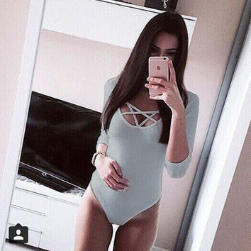 Sexy Lace-Up Bandage Hollow out Jumpsuits Women V Neck Long Sleeve Bodysuit Tie Up Overalls Shorts Solid Jumpsuit Rompers M0139